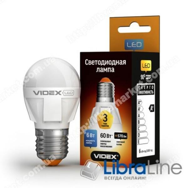 Светодиодная LED лампа VIDEX G45 6W E27 3000K 220V