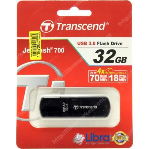 USB Флэш память Transcend JetFlash 700 32Gb Black TS32GJF700