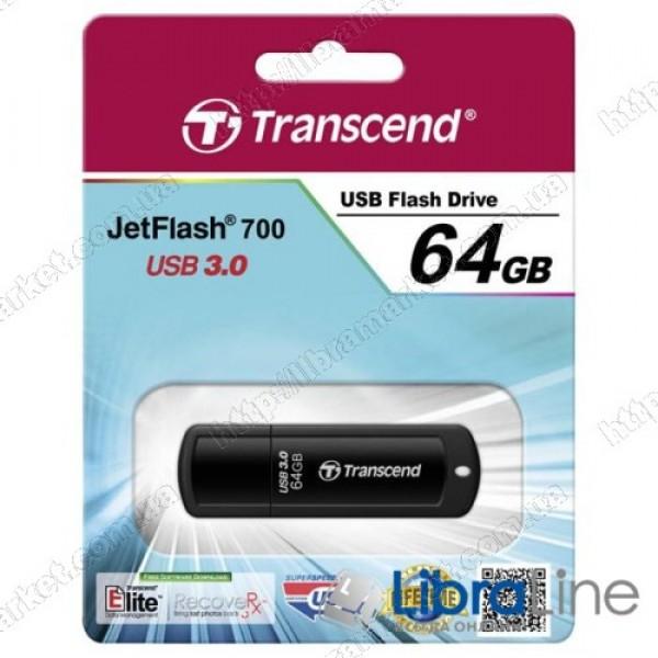 USB Флэш память Transcend JetFlash 700 64 Black TS64GJF700