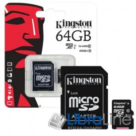 Карта памяти  microSDXC+SD adapter 64Gb C10 UHS-I Kingston SDCS/64GB флеш память