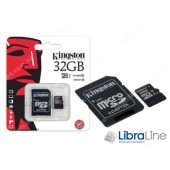 Карта памяти  microSDXC+SD adapter 32Gb Class 10 UHS-I Kingston SDC10G2/32GB флеш память