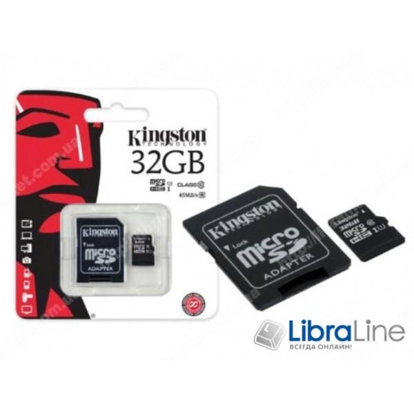 Карта памяти  microSDXC+SD adapter 32Gb Class 10 UHS-I Kingston SDC10G2/32GB флеш память