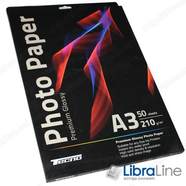 Купить Фотобумага Tecno A3 Glossy 50л 210g Premium