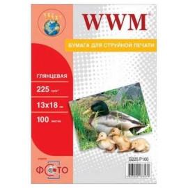 Фотобумага WWM глянцевая 225г/м, 13x18см, 100л G225.P100