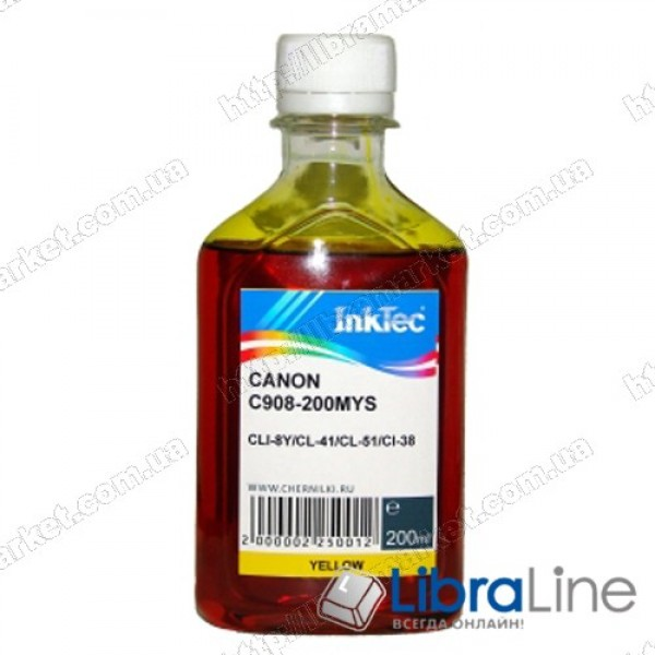 Чернила CANON CLI-8C / PG-41 / 51  Yellow 908 Ink-Tec 200мл