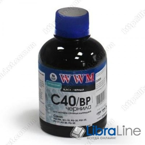 Чернила CANON PG-40 / 50 / PGI-5Bk / BCI-15 Black Pigmented WWM C40/BP 200г G220661