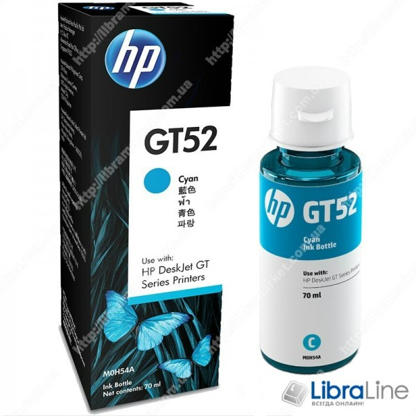 M0H54AE, Оригинальная емкость с чернилами HP GT52, голубая