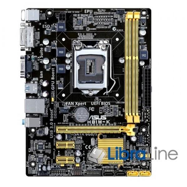 Материнская плата Asus H81M-K s1150, Intel H81, PCI-Ex16