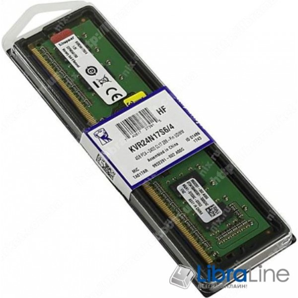 KVR24N17S6/4 Модуль памяти DDR-4 4Gb PC4-19200 2400Mhz Kingston