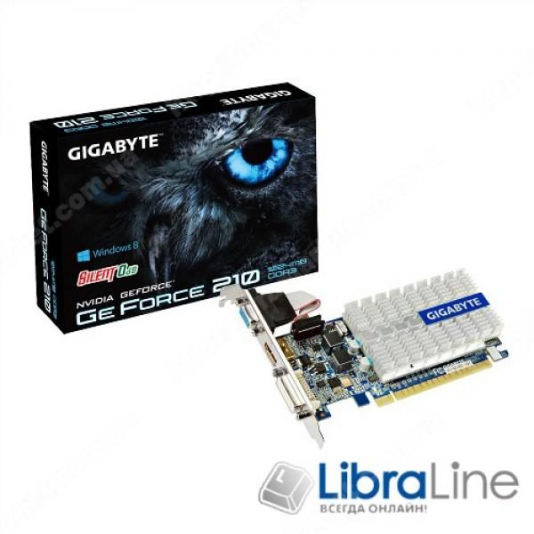 Видеокарта  PCI-E Gigabyte GeForce GT210 1Gb Silent/LP 520MHz,GDDR3,1200MHz,64bit  DVI,HDMI,VGA GV-N210SL-1GI
