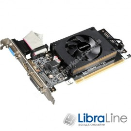 Видеокарта  PCI-E Gigabyte GeForce GT710 1Gb silent GDDR3, 64bit,  DVI, HDMI, VGA GV-N710D3-1GL