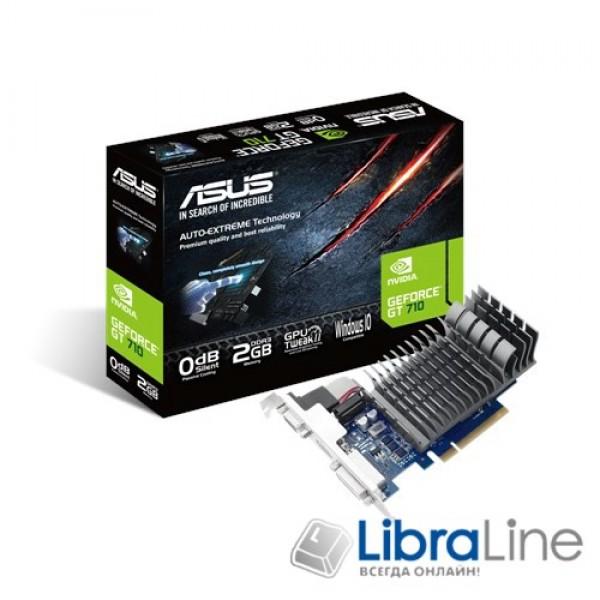 710-2-SL Видеокарта Asus PCI-E Asus GeForce GT710 2Gb silent GDDR3