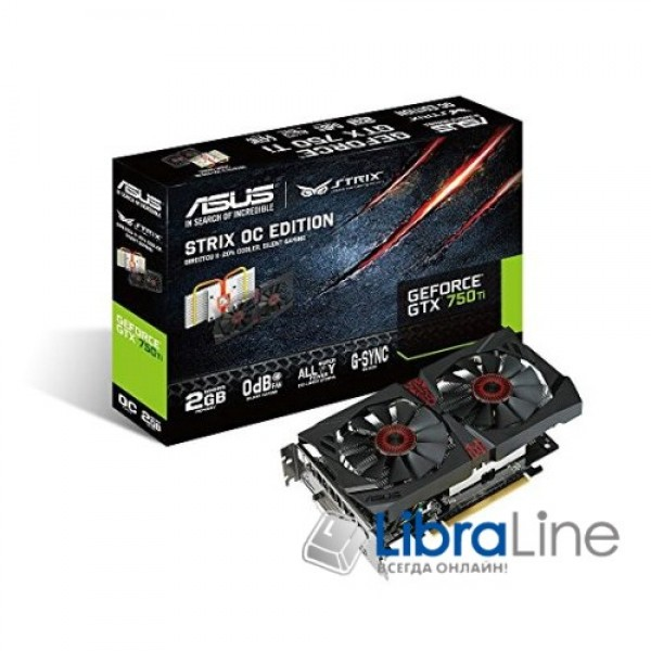 Видеокарта Asus PCI-Ex GeForce GTX 750 Ti Strix 4096MB GDDR5  128bit 1124/5400 DVI, HDMI, DisplayPort STRIX-GTX750TI-DC2OC-4GD