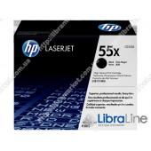 CE255X, HP 55X, Лазерный картридж HP LaserJet увеличенной емкости, Черный