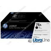 CE278AF, HP 78A, Упаковка 2шт, Оригинальные лазерные картриджи HP LaserJet, Черные
