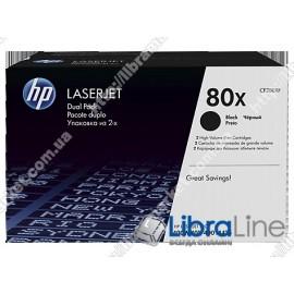 Оригинальные лазерные картриджи HP LaserJet увеличенной емкости, Черные 2 шт/уп CF280XF, HP 80X