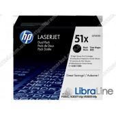 Q7551XD, HP 51X, Упаковка 2шт, Оригинальные лазерные картриджи HP LaserJet увеличенной емкости, Черные