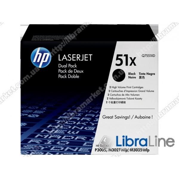 Оригинальные лазерные картриджи HP LaserJet увеличенной емкости, Черные Q7551XD, HP 51X 2 шт/уп