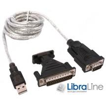 Кабель переходник конвертор USB to COM Viewcon VEN 24 USB 2.0, 1xCOM  9+25pin, кабель 1.5м