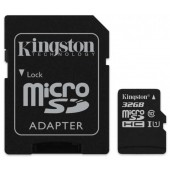Карта памяти Kingston 32GB microSDHC C10 UHS-I R80MB/s + SD адаптер (SDCS/32GB)