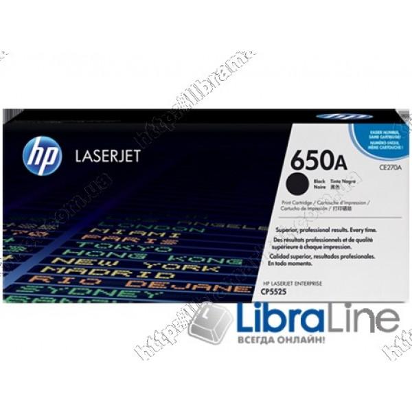CE270A, HP 650A, Оригинальный лазерный картридж HP LaserJet, Черный