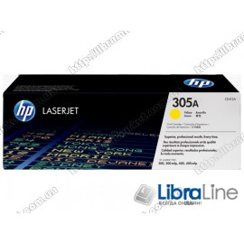 CE412A, HP 305A, Оригинальный лазерный картридж HP LaserJet, Желтый