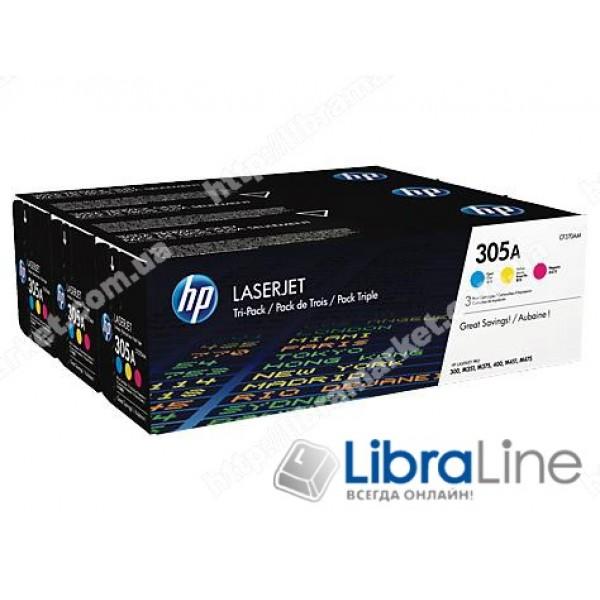 CF370AM, HP 305A, Упаковка 3шт, Оригинальные лазерные картриджи HP LaserJet, Голубой / Пурпурный / Желтый