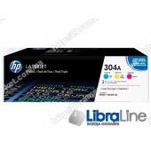 CF372AM, HP 304A, Упаковка 3шт, Оригинальные лазерные картриджи HP LaserJet,Голубой / Пурпурный / Желтый