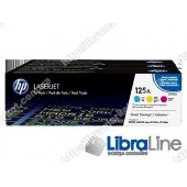 CF373AM, HP 125A, Упаковка 3шт, Оригинальные лазерные картриджи HP LaserJet, Голубой / Пурпурный / Желтый