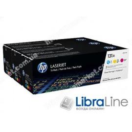 Оригинальные лазерные картриджи HP LaserJet, Голубой / Пурпурный / Желтый U0SL1AM, HP 131A 3 шт/уп