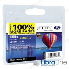 110E005501 G064908 Картридж EPSON Stylus Photo R240/RX420/425  Black  E55B Jet Tec