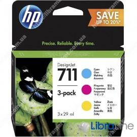 P2V32A. Набор картриджей HP 711 MultiPack 3xInkjet Cartridge (Cyan, Magenta, Yellow), для плоттеров HP Designjet T120 и T520