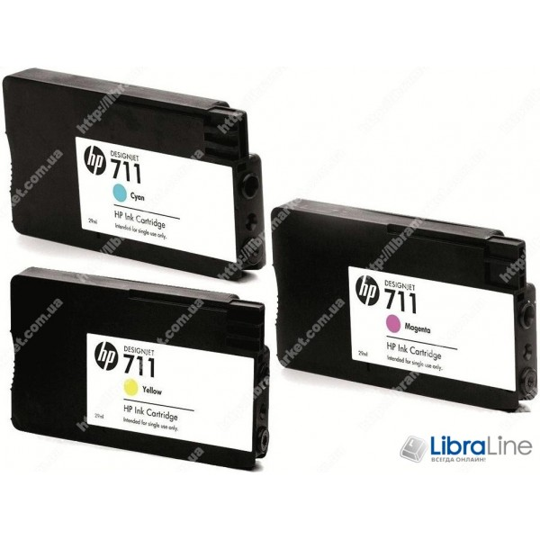 P2V32A. Набор картриджей HP 711 MultiPack 3xInkjet Cartridge (Cyan, Magenta, Yellow), для плоттеров HP Designjet T120 и T520