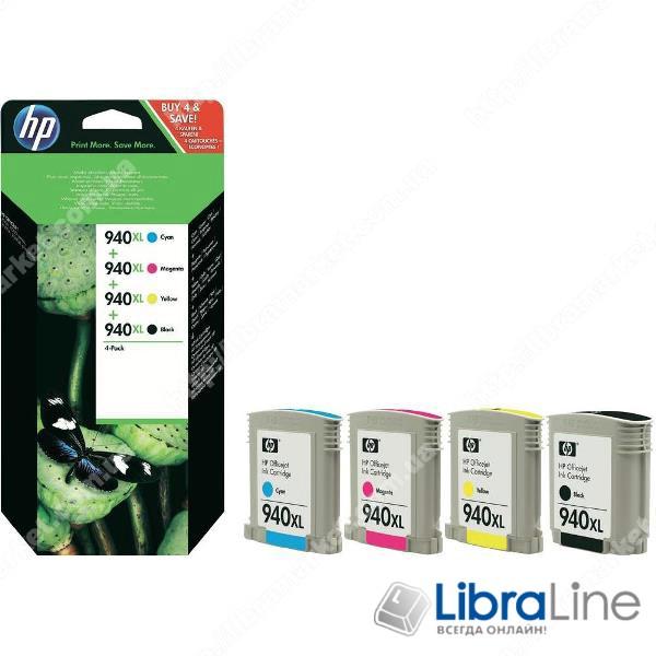 C2N93AE, HP 940XL, Упаковка 4шт, Оригинальные струйные картриджи HP увеличенной емкости, Черный / Голубой / Пурпурный / Желтый