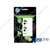 C9502AE, HP 56, Упаковка 2шт, Оригинальные струйные картриджи HP, Черные