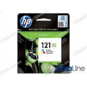 CC644HE, HP 121XL, Струйный картридж HP увеличенной емкости, Трехцветный