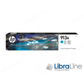 F6T77AE, HP 913A, Оригинальный картридж HP PageWide, Голубой