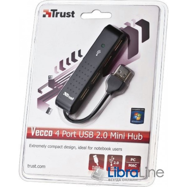 Концентратор Trust Vecco 4 Port USB 2.0 Mini Hub Black