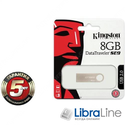 Флэш память Kingston DTSE9H 8Gb Silver DTSE9H/8GB металл фото 1