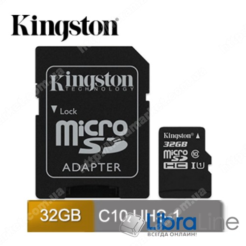 Флеш память microSDXC+SD adapter 32Gb Class 10 UHS-I Kingston SDC10G2/32GB фото 1