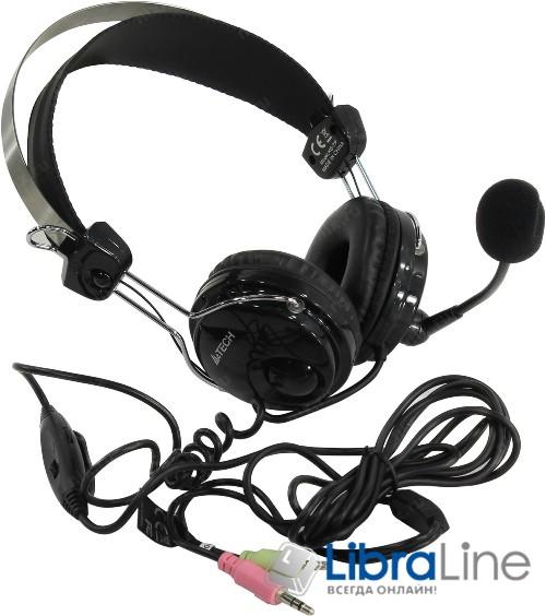 Гарнитура - наушники с микрофоном  A4-Tech HS-7P Black фото 1