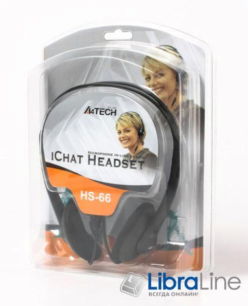 Наушники с микрофоном  A4-Tech HS-66  black - гарнитура фото 1