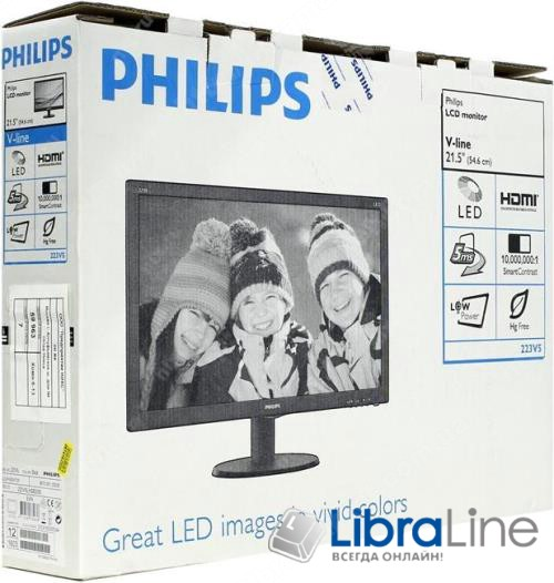 "Монитор 21,5"" Philips 223V5LSB2/10 black  VGA фото 1"