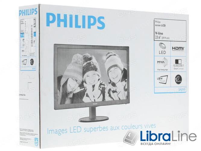 "Монитор 24"" Philips 243V5QHSBA/01 black  LED MVA,VGA, DVI, HDMI  фото 1"