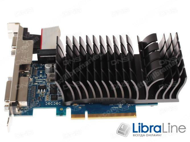 710-1-SL Видеокарта PCI-E Asus GeForce GT710 1Gb Silent GDDR3, 64 bit, DVI, HDMI, VGA - фото 1