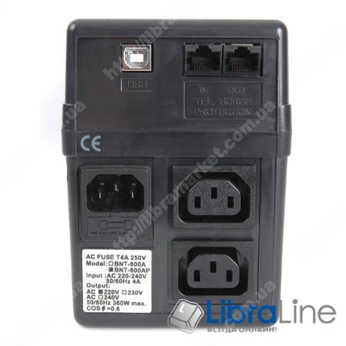 Источник бесперебойного питания Powercom BNT-800AP 2розетки, AVR:152-257B, 480Вт, USB фото 1
