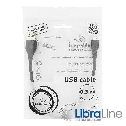 Кабель microUSB Cablexpert CCP-mUSB2-AMBM-0.3M, USB 2.0, 0.3 м  фото 1