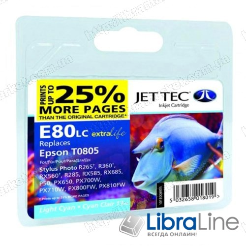 110E008002 G064428 Картридж E80С EPSON Stylus Photo P50 / PX660 / PX720WD Jet Tec Cyan фото 1