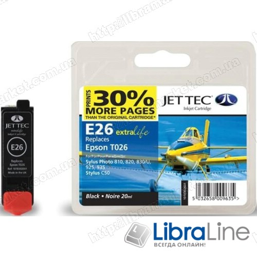 110E002601 Картридж EPSON Stylus Photo 810 Jet Tec Black +30% E26 фото 1