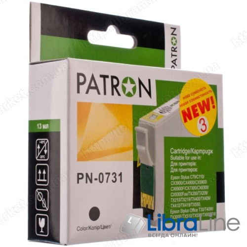 CI-EPS-T07314-B3-PN Картридж EPSON Stylus C79 / 110, CX3900 / 4900 / 5900 / 6900F / 7300 / 8300 / 9300F, TX200 / 209 / 210 / 219 / 400 / 409 / 410 / 419 / 550, Office T30 / T40W, TX300F / 510 / 550 / 600FW PATRON Black фото 1